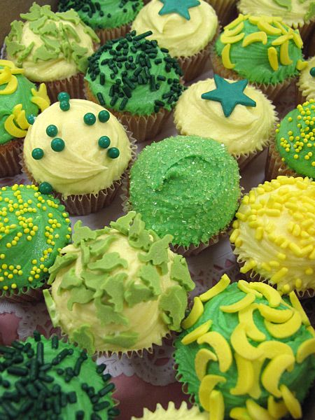 Green and Yellow Wedding Cupcakes