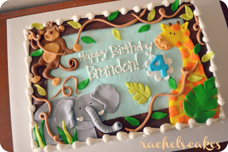12 Photos of Flat Sheet Cakes Jungle Theme