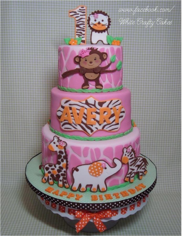Jungle Safari First Birthday Cake
