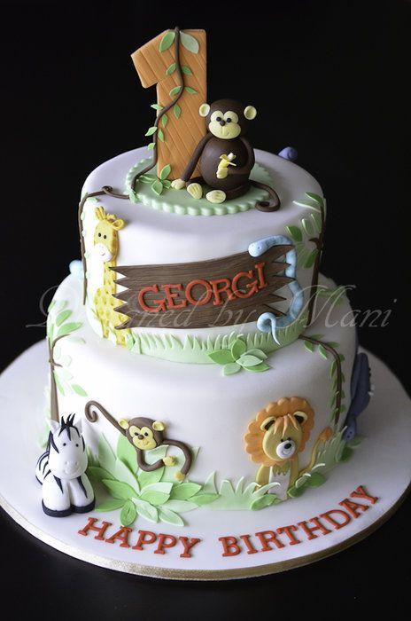 Jungle Themed 1st Birthday Cake