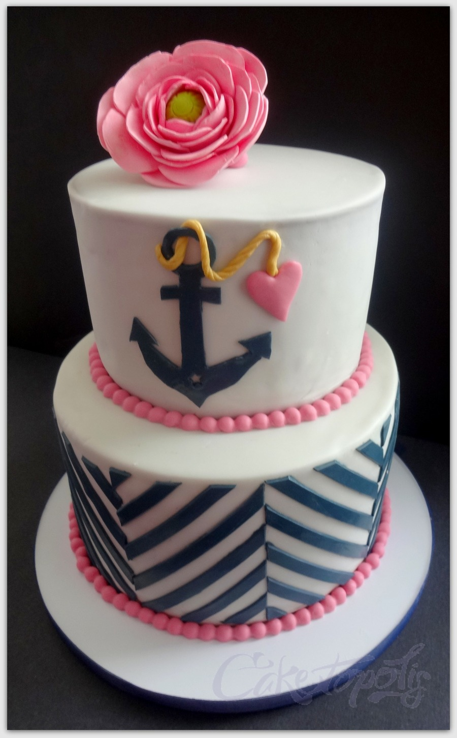 Navy and Pink Nautical Baby Shower Cake