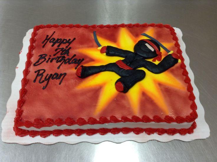 Marvelous 12 Ninja Party Red And Black Cakes Photo Ninja Birthday Cake Funny Birthday Cards Online Hendilapandamsfinfo