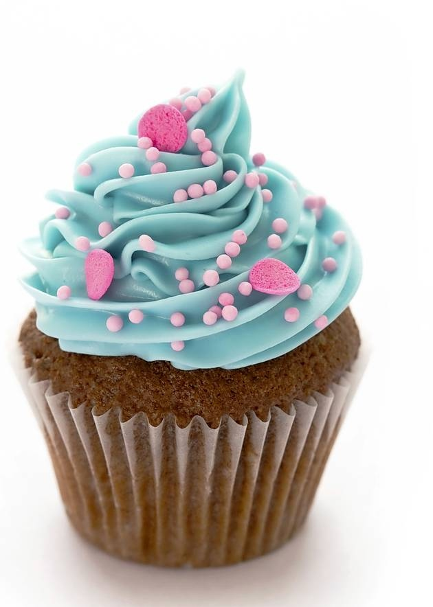 Pink Blue Frosting Cupcake with Sprinkles