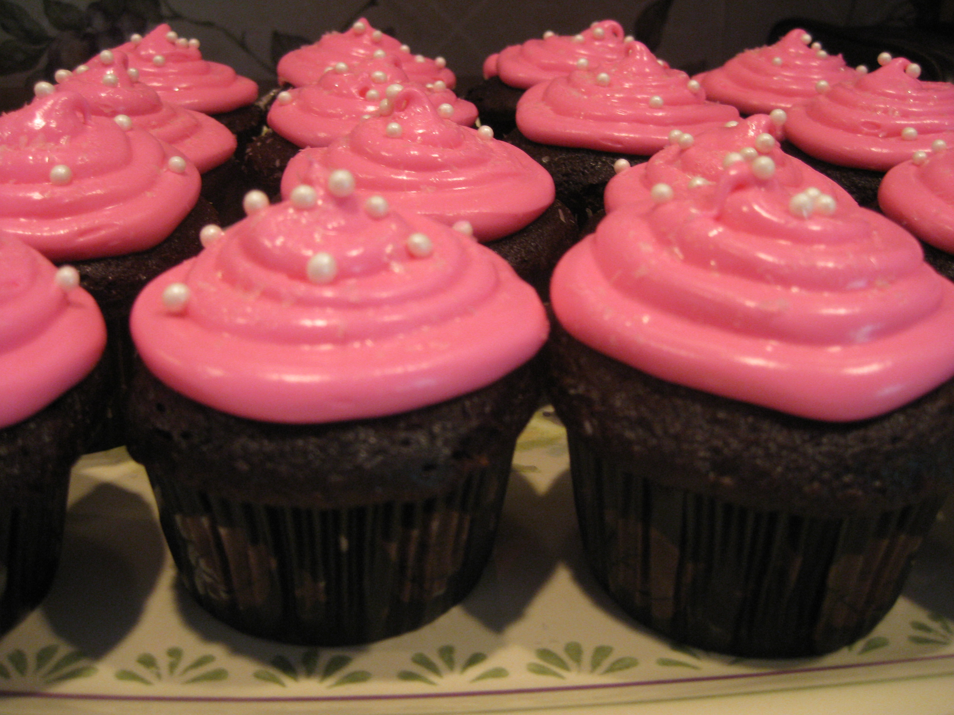 Pink Cupcake with Chocolate Frosting