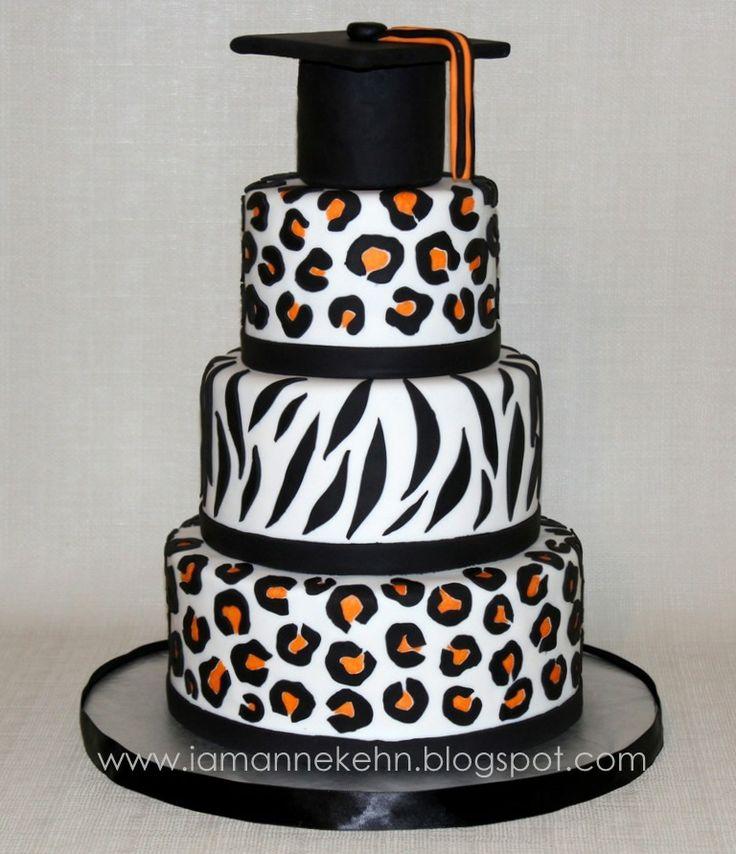 Pink Zebra Print Graduation Cake