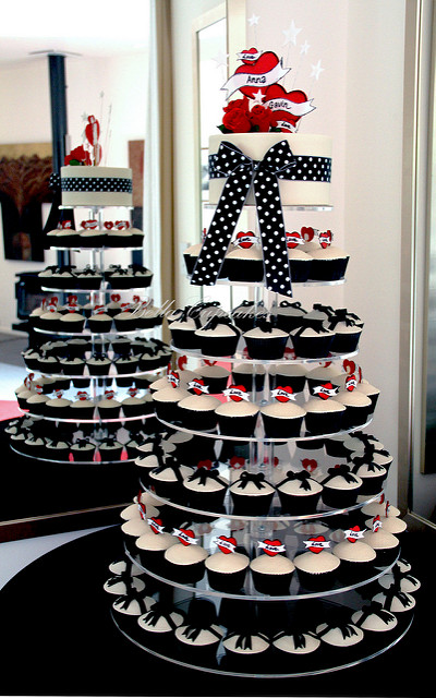 Rockabilly Wedding Cupcake Tower