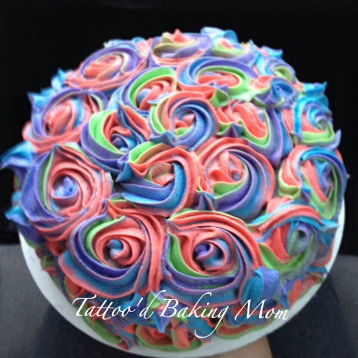 Rosette Birthday Cake Rainbow