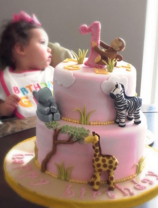 Safari Animal Birthday Cake for Girl