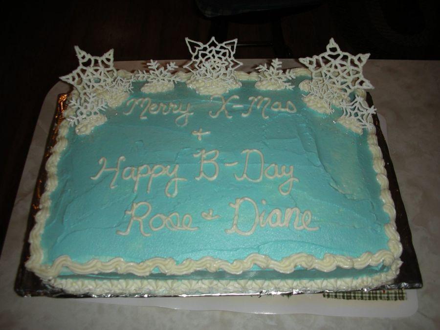 Snowflake Birthday Sheet Cake