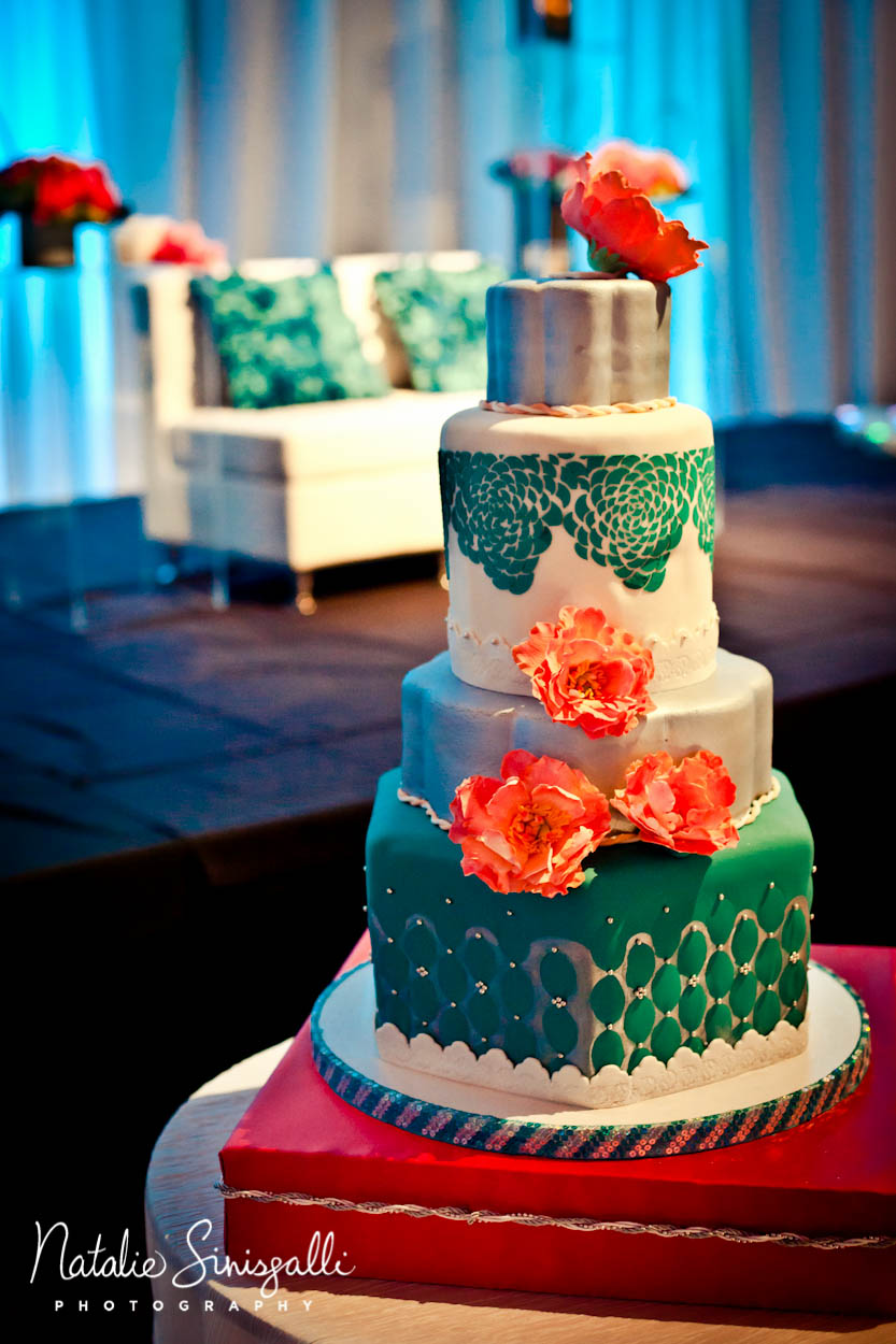 Teal and Coral Wedding Cake