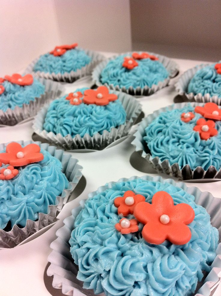 Teal and Coral Wedding Cupcakes
