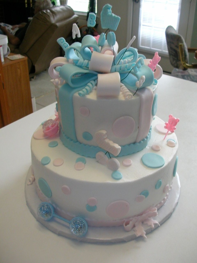 Twin Girls Baby Shower Cake