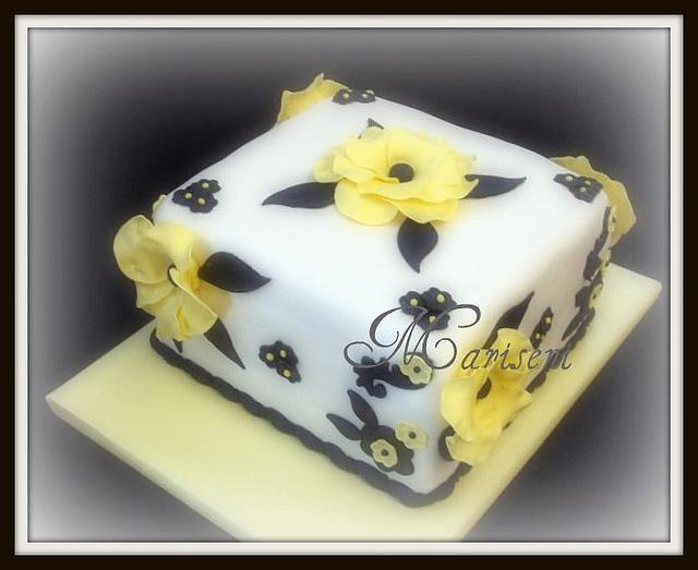 Yellow Black and White Birthday Cake