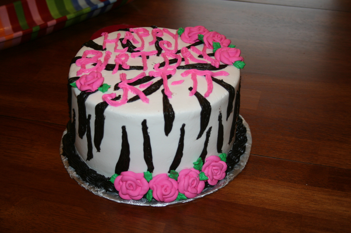 Zebra Cake with Buttercream Frosting