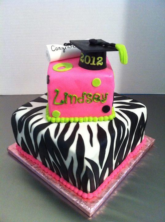 Zebra Graduation Cake
