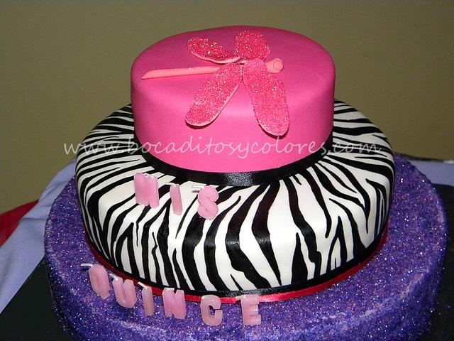 Zebra Print Quinceanera Cake