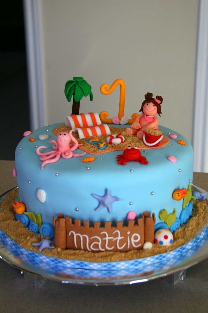 Terrific 11 Beach Themed Fondant Birthday Cakes Photo Beach Theme Funny Birthday Cards Online Overcheapnameinfo