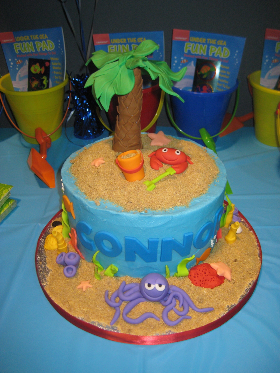 Outstanding 11 Beach Themed Fondant Birthday Cakes Photo Beach Theme Funny Birthday Cards Online Elaedamsfinfo
