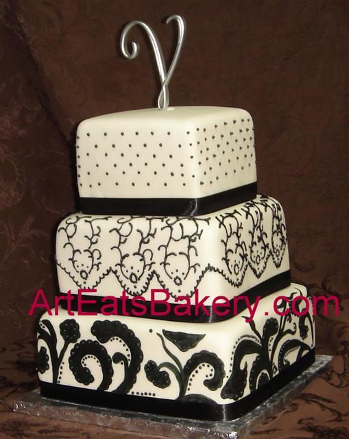 Black and White Fondant Wedding Cake
