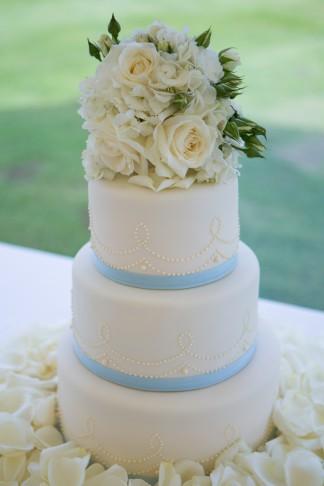 Blue and Ivory Wedding Cake