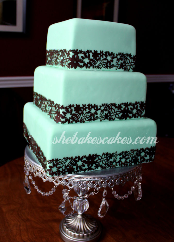 Blue Green and Brown Wedding Cake