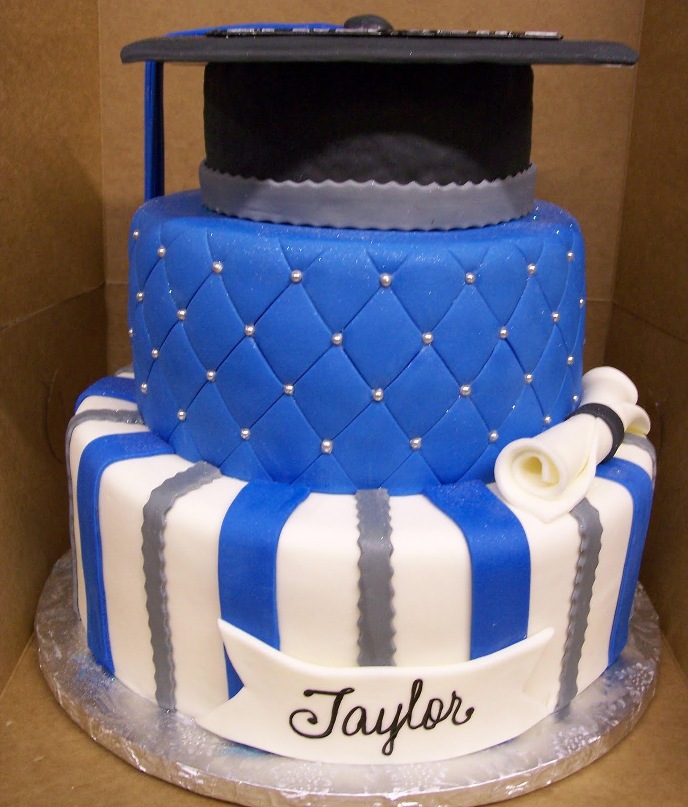 Blue White and Silver Graduation Cakes