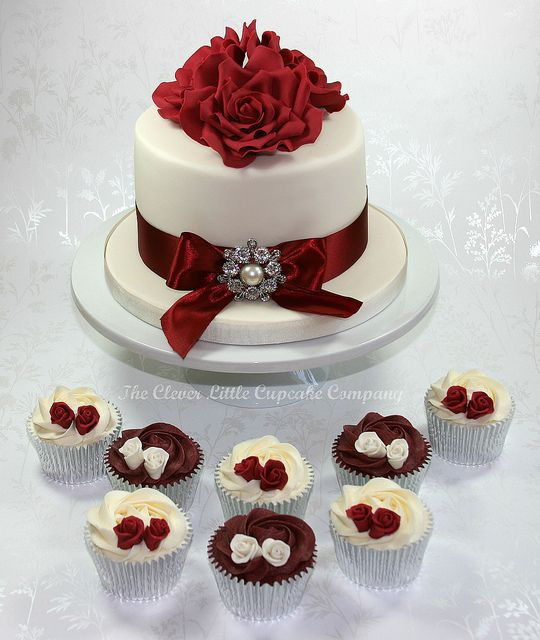Burgundy Wedding Cake and Cupcakes