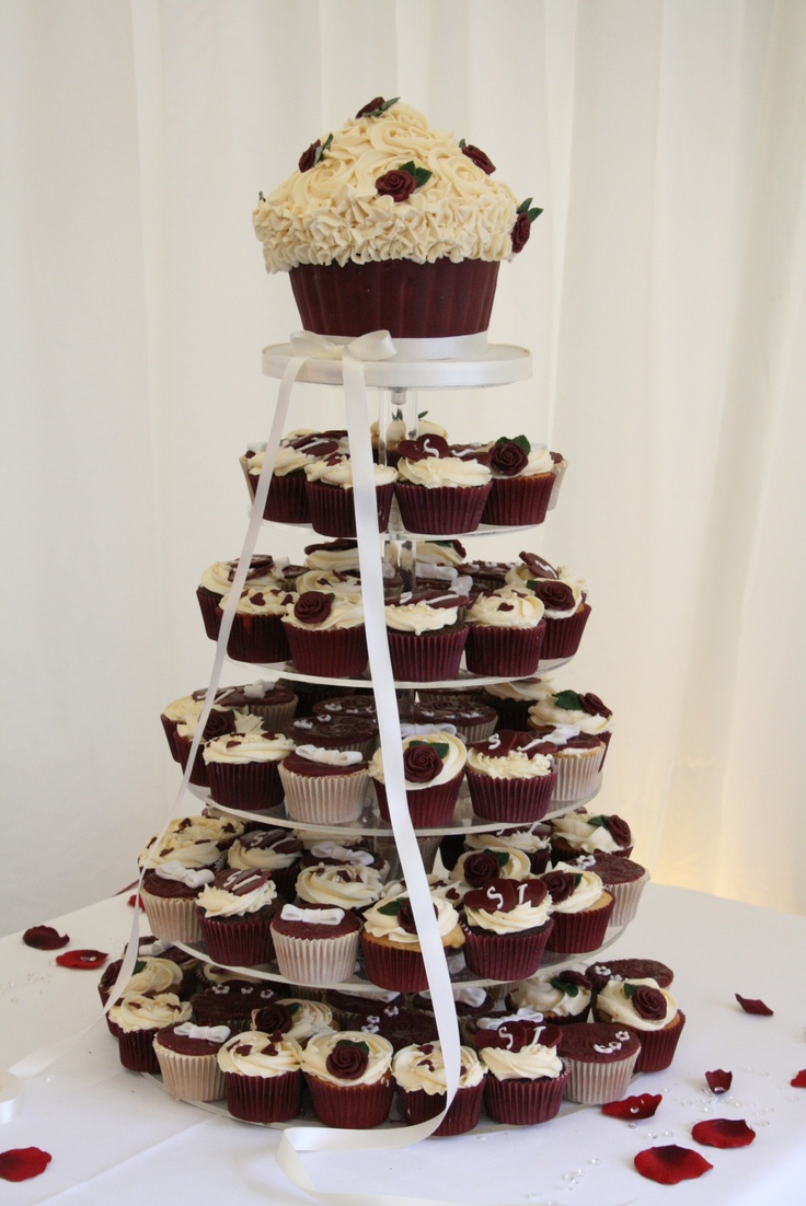 Burgundy Wedding Cupcake Tower