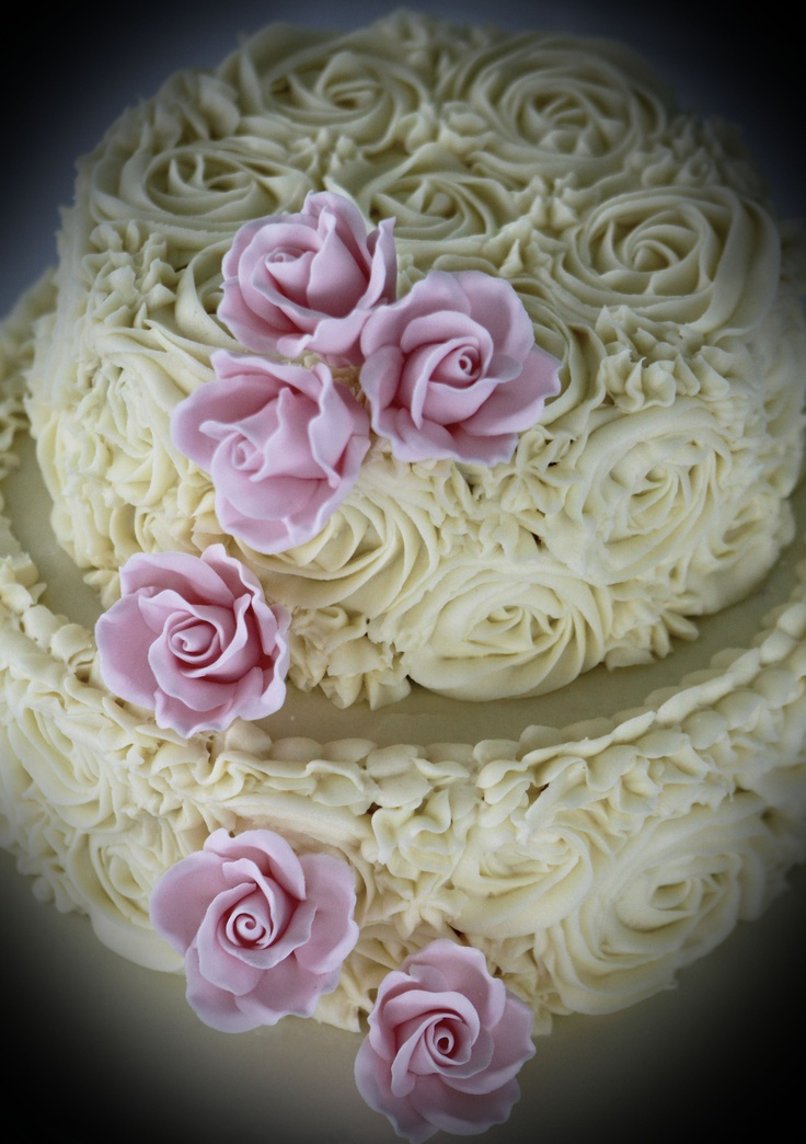 Cake Decorated with Frosting Roses