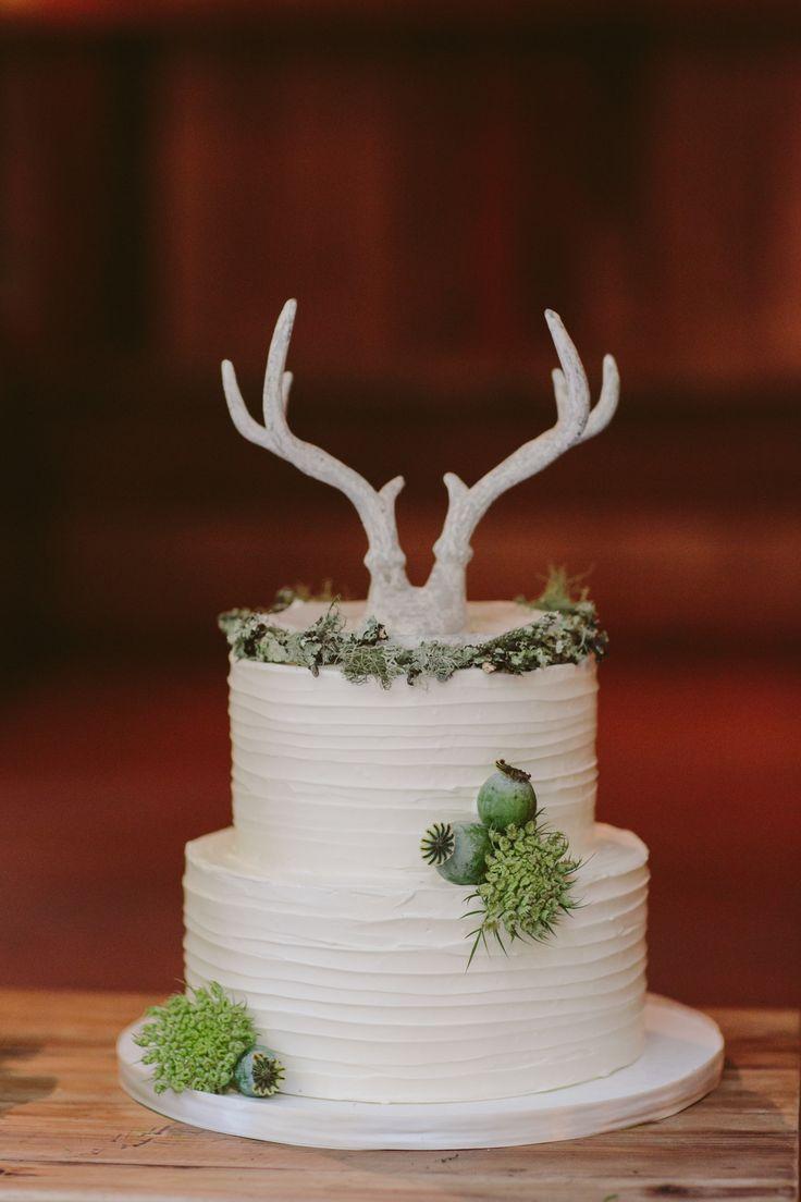 Deer Antler Wedding Cake Toppers