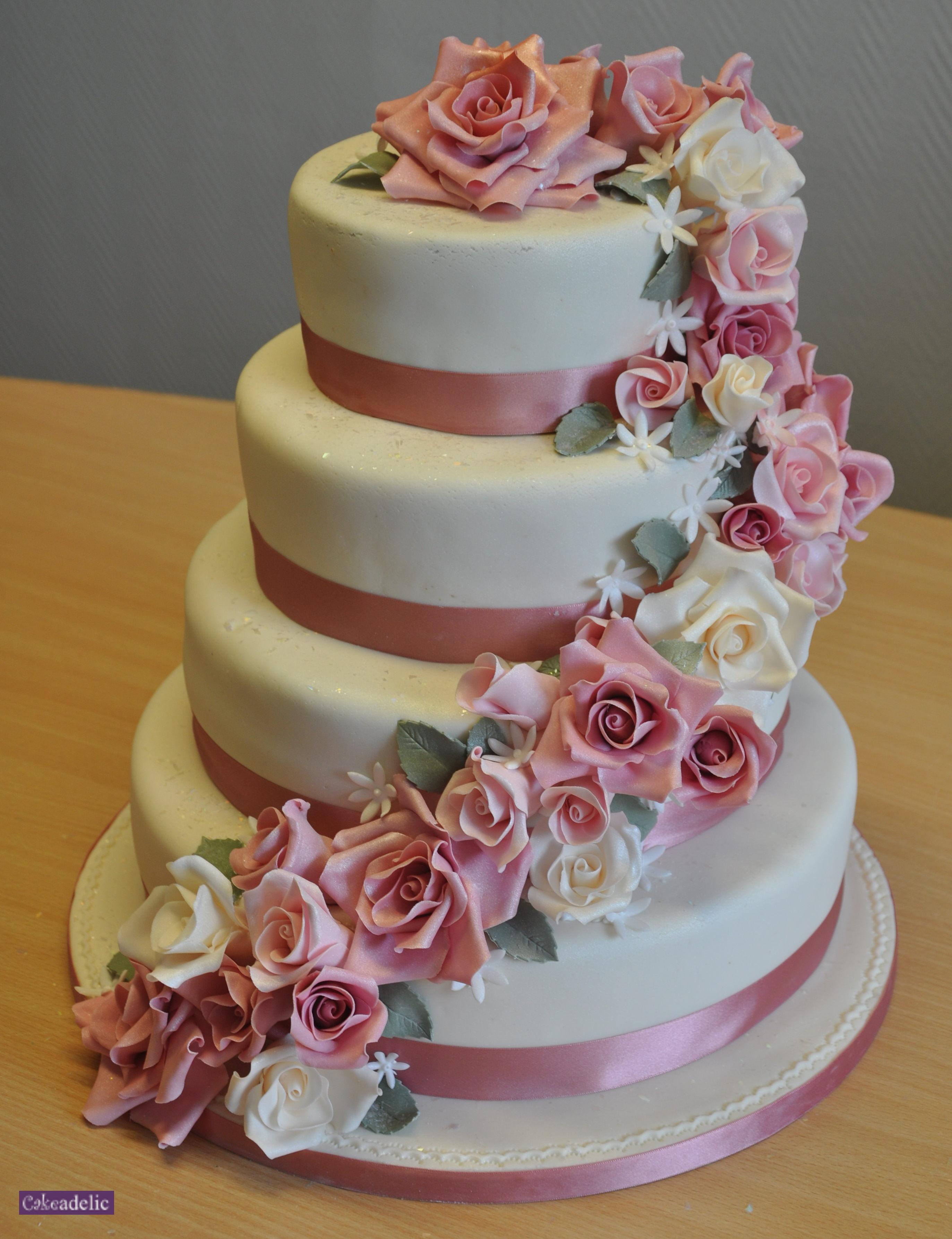 Four Tier Wedding Cake Rose