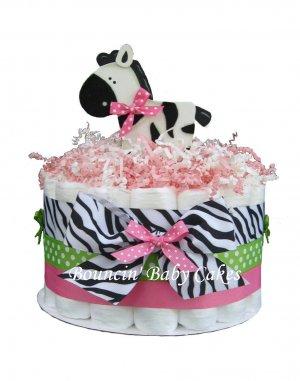 8 Photos of Zebra Print Diaper Cakes For Girls