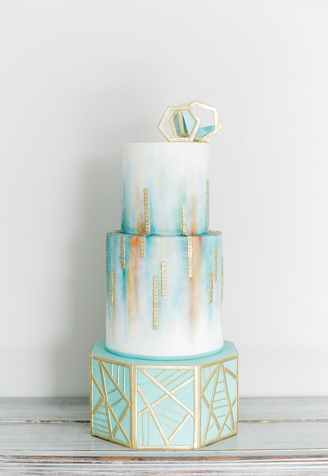 Gold and Teal Wedding Cakes Ideas