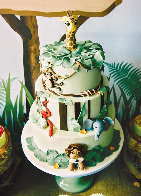 Jungle Themed Birthday Party Cake