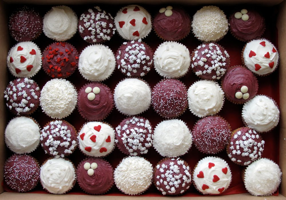 Maroon and White Wedding Cupcakes