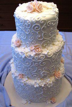 Peach Wedding Cake with Flowers