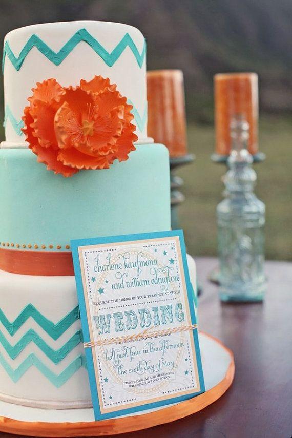 Pink Orange and Turquoise Wedding Cake