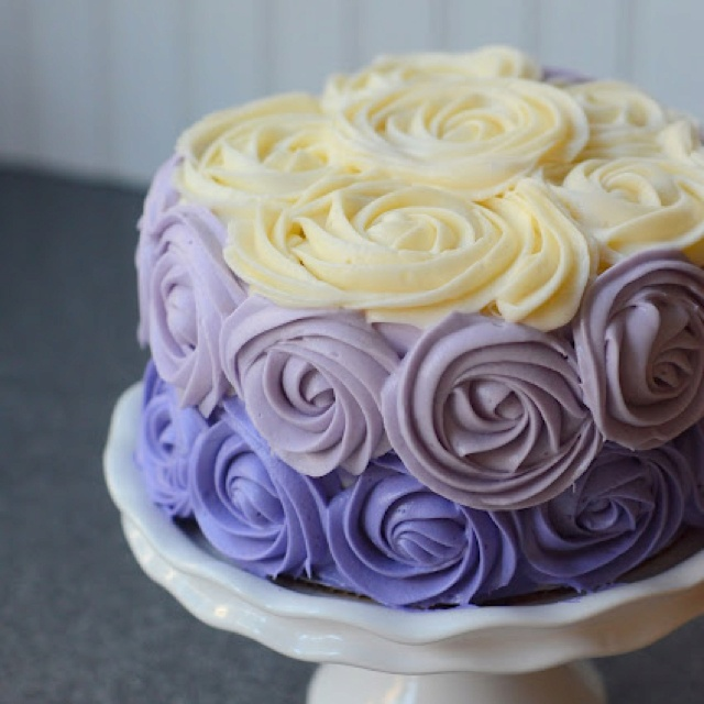 Purple Buttercream Ombre Roses Cake