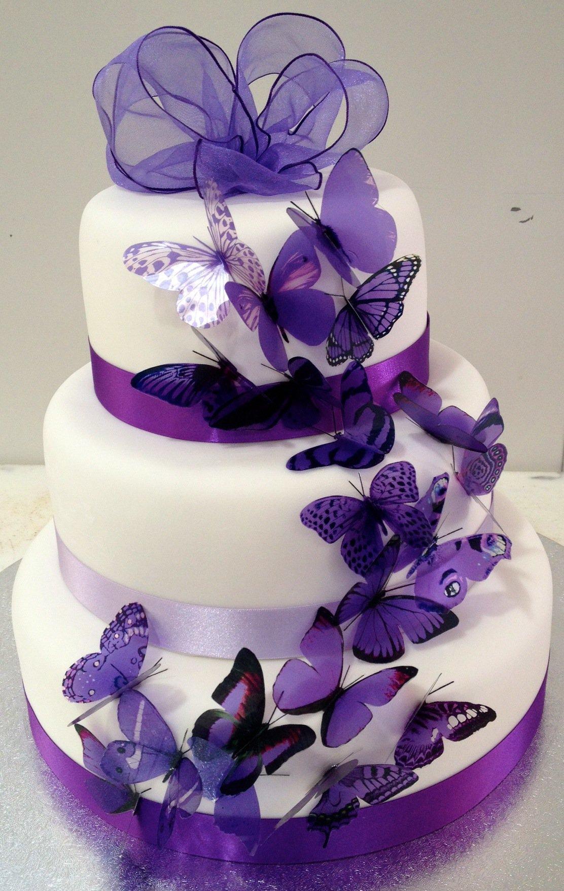Purple Butterfly Wedding Cakes