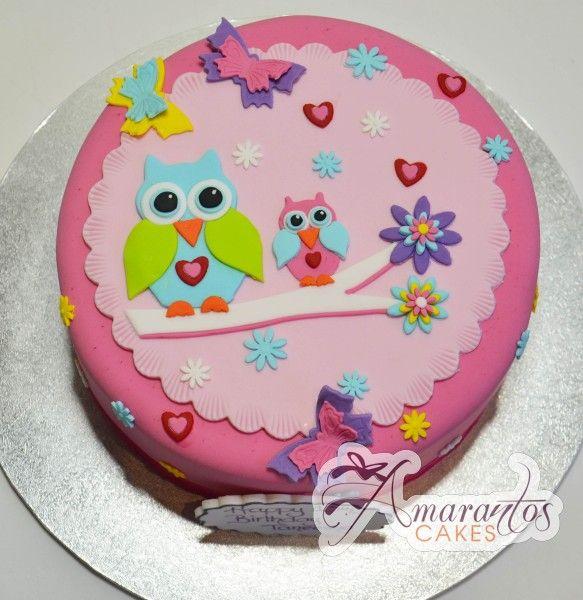 Round Owl Birthday Cake