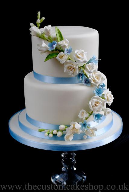 Sky Blue and Ivory Wedding Cake