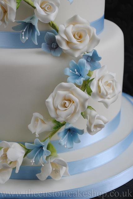 Sky Blue and Silver Wedding Cake