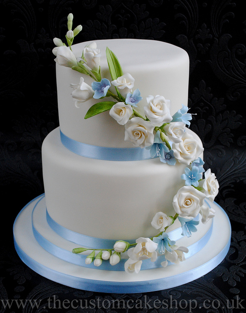 11 Photos of Sky Blue Ivory Wedding Cakes