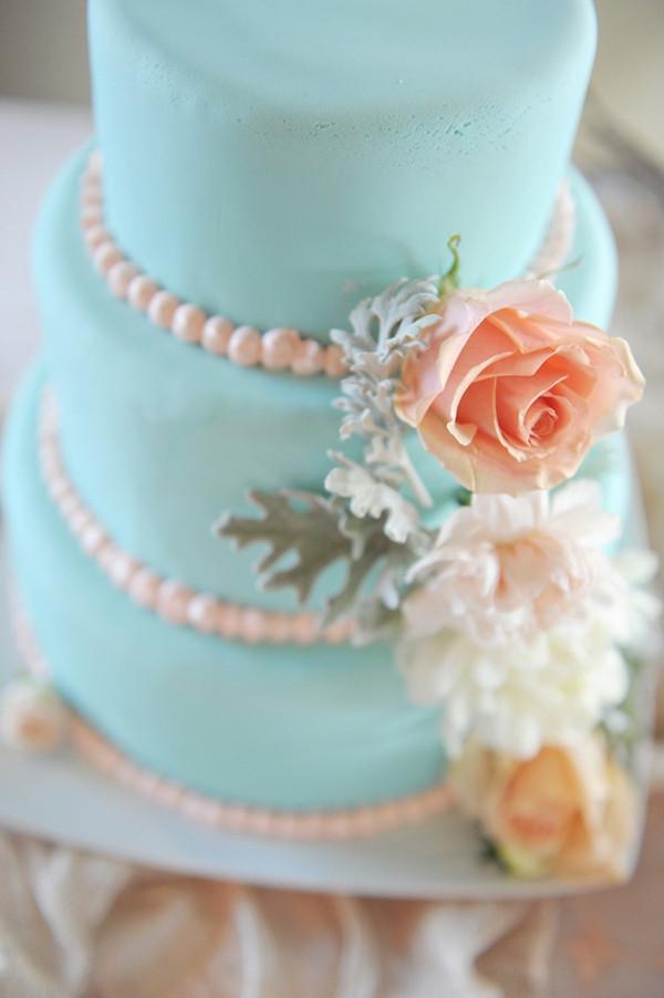 Tiffany Blue and Peach Wedding Cake