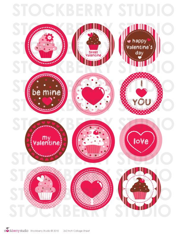 Valentine's Day Cupcake Toppers Printables