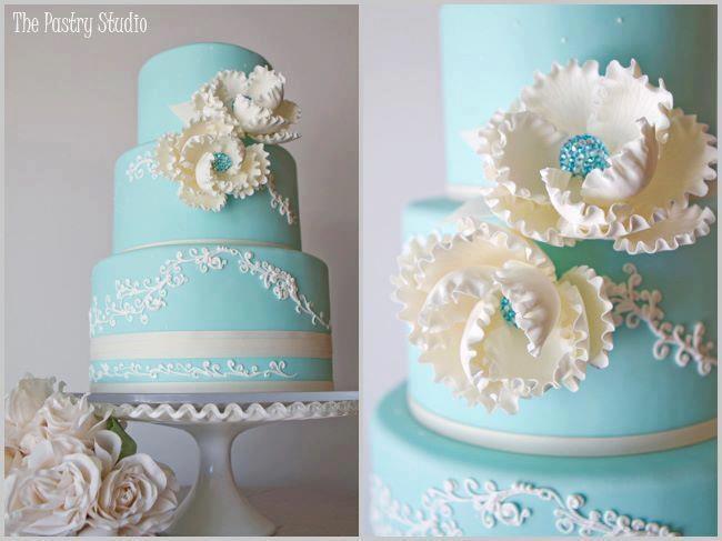 Vintage Tiffany Blue and Cream Wedding Cake