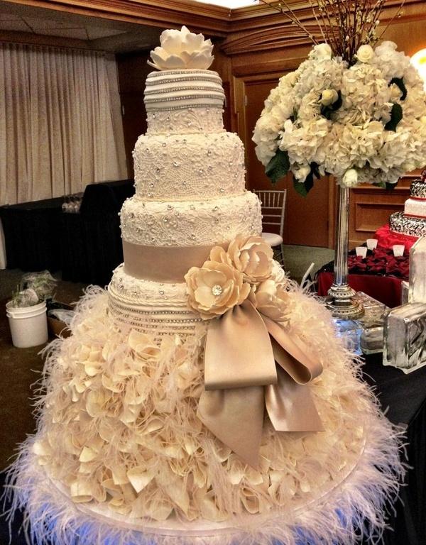 Wedding Cake with Feathers
