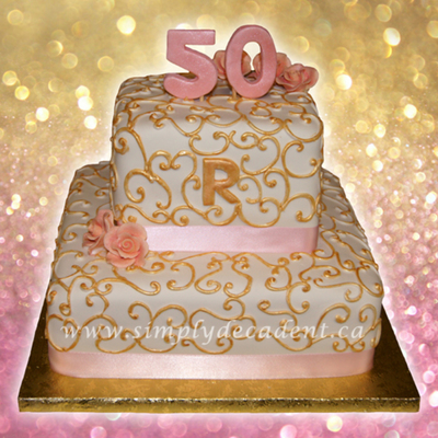 2 Tier Square 50th Anniversary Cakes