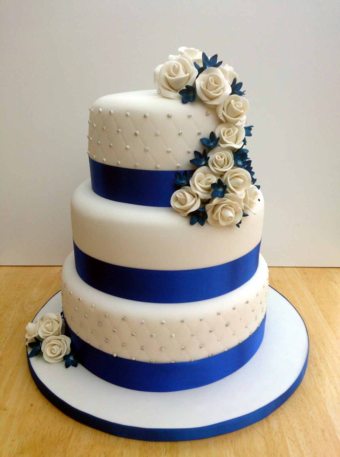 3 Tier Wedding Cake with Blue Flowers