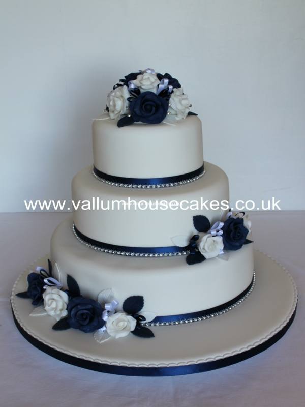 3 Tier Wedding Cake with Blue Roses